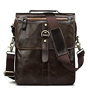 Casual Men's Single Shoulder Bag with Leather Multi-Function Cross-Body Bag Fashionable Head Layer Cowhide Men's Bag (Color : Dark Coffee, Size : S)