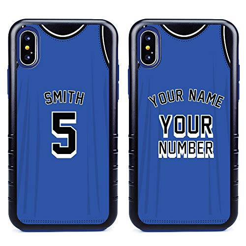 Custom Basketball Jersey Cases for iPhone XR by Guard Dog - Personalized Sports - Your Name and Number on a Protective Hybrid Phone Case. Incl.Guard Glass Screen Protector. (Black, Blue)