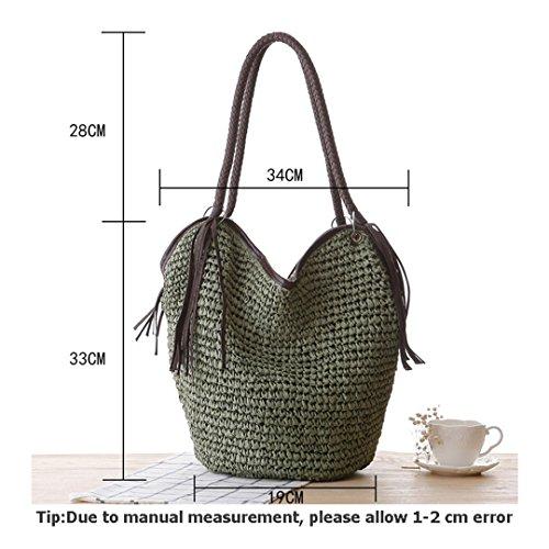 Casual Handbag Straw Green Weave Bag Tote Knitted Fashion Shoulder Female SS3012 Beach Women Lady Hobos Summer MANFDGABNGS Tassel Bags nUvq7xFU