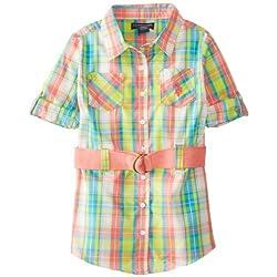 U.S. POLO ASSN. Little Girls' Plaid Button Up Dress with Belt
