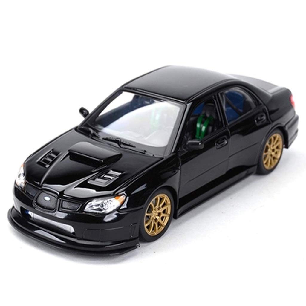 Black 19cm8cm6cm GAOQUNTOY 1 24 Subaru Impreza Impreza WRX STI Sports Car Racing Alloy Car Model (color   BLACK, Size   19cm8cm6cm)