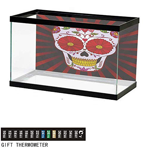 (wwwhsl Aquarium Background,Sugar Skull,Catrina Inspired Art of Skull Dead Head with Ornate Flowers Remembrance Theme,Multicolor Fish Tank Backdrop 24