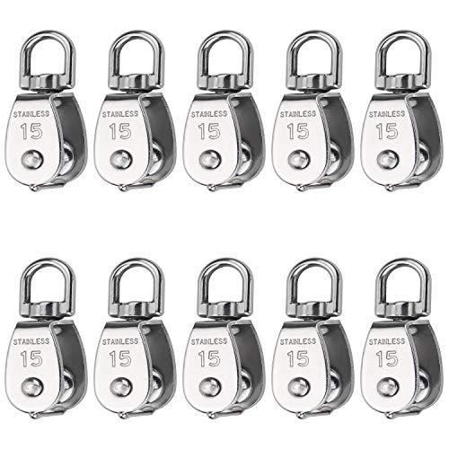 Favordrory 10 Pcs Wire Rope Crane Pulley Block Lifting Crane Swivel Hook Single Pulley Block Hanging Wire Towing Wheel, 304 Stainless Steel (M15)