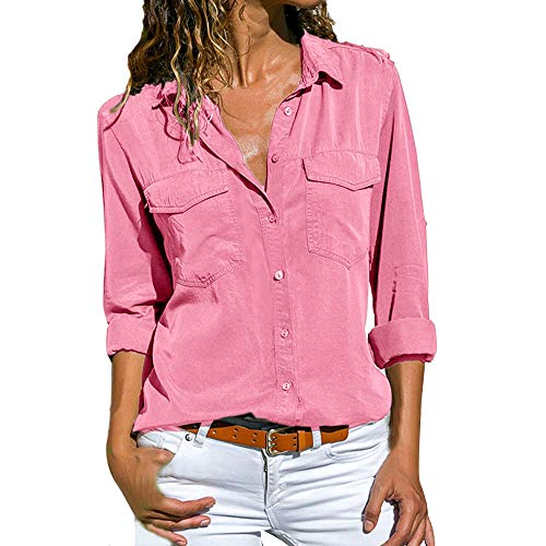 Button Front Crinkle Chiffon Shirt (vermers Womens Blouses Clearance Sale Women Casual Long Sleeve Button Front Shirt Turn Down Collar Tops with Pockets(S, Pink))