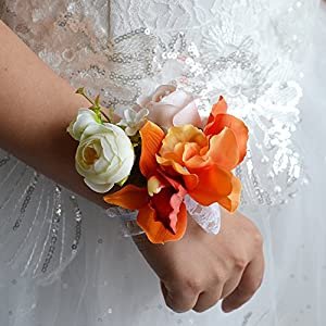Abbie Home Prom Wrist Corsage Lily Peony Hand Flower Wrist Band for Party Wedding (Orange) 19