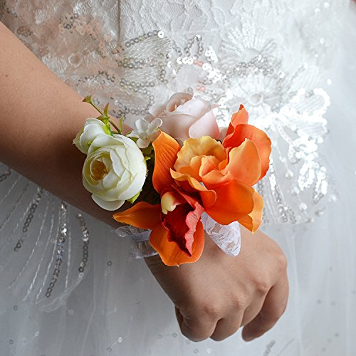 Abbie Home Prom Wrist Corsage Lily Peony Hand Flower Wrist Band for Party Wedding (Orange)