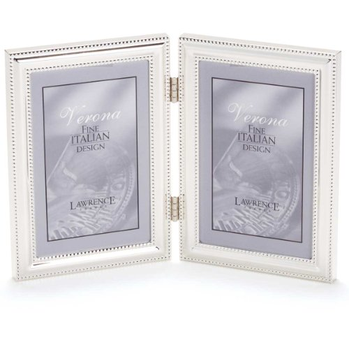 Lawrence Frames Hinged Double (Vertical) Metal Picture Frame Silver-Plate with Delicate Beading, 5 by ()