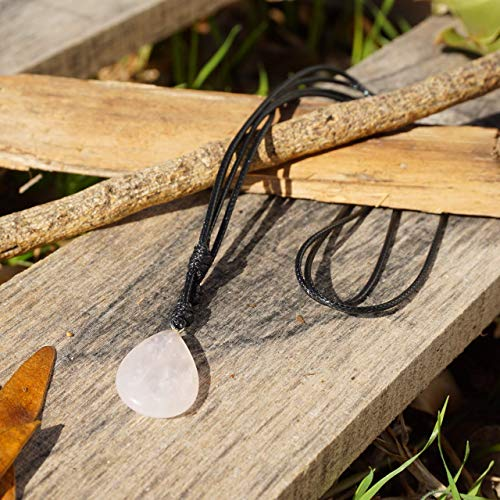 BARBARI Jewelry Clear Quartz Healing Crystal Necklace | Handmade Gift for Him and Her+ Free Gift! High Quality Natural Rock Quartz Gemstone Pendant for Men and Women (Clear Crystal Necklace)