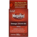 MegaRed Omega 3 Krill Oil - 100% Pure Antarctic Krill Oil - Optimal Combination of Omega 3 Fatty Acids - EPA, DHA - 350mg/softgel, 90 Softgels, 3 month supply