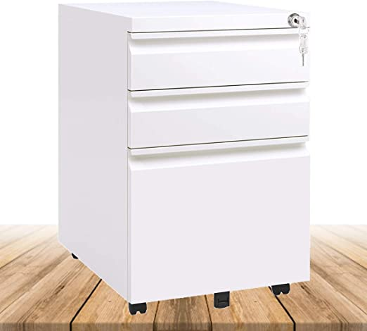 Merax 3 Drawer File Cabinet Mobile Metal Pedestal Filing Cabinets with Lock Key 5 Rolling Casters Fully Assembled Home Office