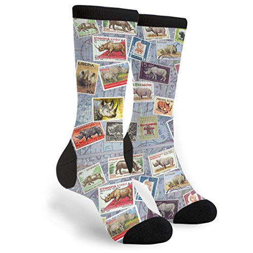 Personalized Pattern Dress Funky Business Groomsmen Gift Socks Rhino Postage Stamp Collage Great Socks Present For Wedding Birthday Mother's Day Christmas