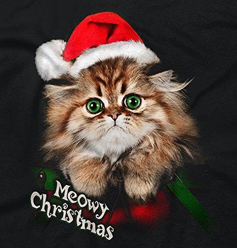 Funny Christmas T Shirt Merry Christmas Cat Meow Santa Hat Xmas Tee
