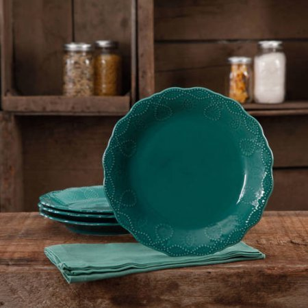 Price comparison product image The Pioneer Woman Cowgirl Lace Transparent Glaze 4-Pack Dessert Plates - Teal