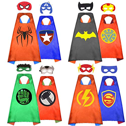 HERO WOW Superhero Capes, 8 Heroes Reversible Satin Capes and Masks for Dress Up Costumes(4 Cape, 8 Mask) (red) -
