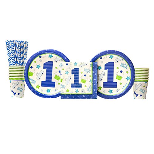Doodle 1st Birthday Boy Party Supplies Pack for 16 Guests | Straws, 16 Dinner Plates, 16 Luncheon Napkins, and 16 Cups | Celebrate Your Boy's First Birthday With Trucks, Teddy Bears, And Cupcakes!
