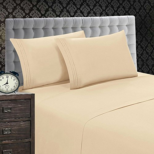 Elegant Comfort 1500 Thread Count Luxury Egyptian Quality Wrinkle and Fade Resistant 4-Piece Sheet Set, Queen, Beige