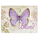 Botanic Butterfly Blessings Blessed Glass Cutting Board / Trivet (Large: 15 3/4 x 11 7/8) by Christian Art Gifts