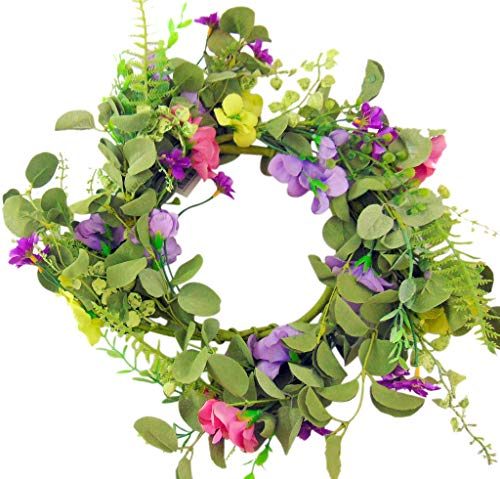 (Westman Works Spring Floral Candle Ring Wreath for Pillar Candles with Purple Yellow and Pink Flowers, 12 Inch )