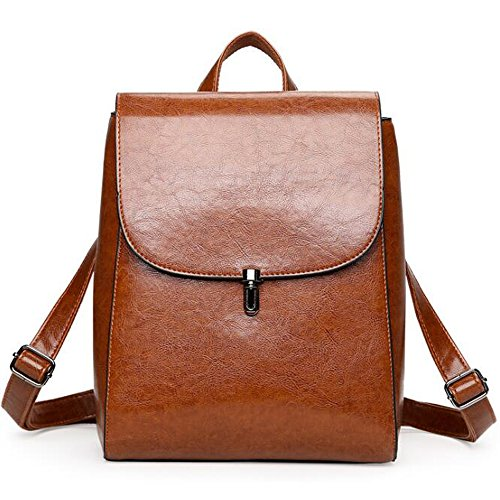 (JVP1011-K) japonés bolso de las señoras de cuero de LA PU mochila impermeable marrón lindo popularidad mochila liviana impermeable de gran capacidad para el viajero de la escuela colegialas mochila Castaño