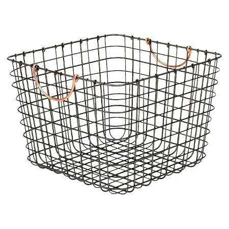 new-large-milk-crate-wire-storage-bin-antique-pewter-with-copper-handle-by-threshold