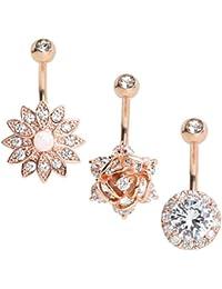 3PCS 14G Belly Button Rings Stainless Steel Round CZ Flower Navel Rings Barbell Piercing for Women Girls Summer...