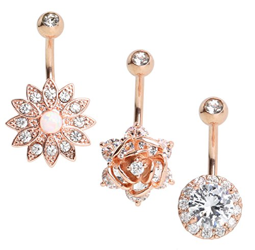 (SkullParty 3PCS 14G Belly Button Rings Stainless Steel Round CZ Flower Navel Rings Barbell Piercing for Women Girls Summer (Rose Gold))