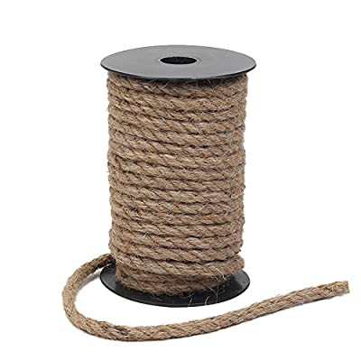 Tenn Well 8mm Jute Rope, 50 Feet Strong and Heavy Duty Natural Jute Twine for Gardening, Bundling, Camping, Decorating (Brown) : Office Products
