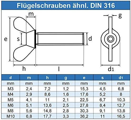 Schraube amerikanische Form 4 St/ück Fl/ügelschrauben M5 X 12 DIN 316 Edelstahl A2 OPIOL QUALITY   Fl/ügelschraube