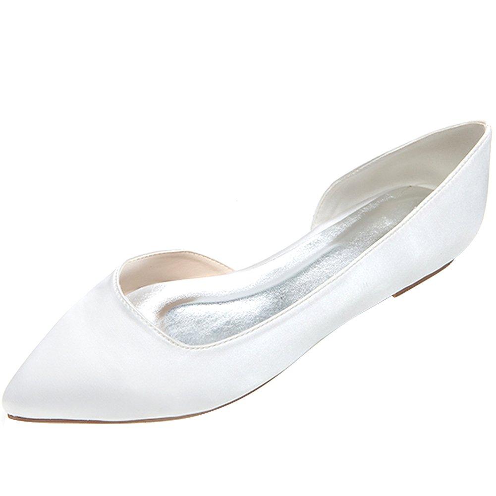 LOSLANDIFEN Women's Elegant Sequins Flats Pionted Toe Wedding Ballet Bridal Shoes B071P1W1K1 40 M EU/9 B(M)US|White Satin