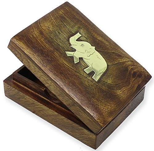 (SKAVIJ Playing Card Box Handmade Wooden Holder for 1 Deck of Playing or Poker Cards Elephant Decorative Case Gifts)