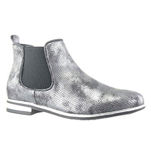 Angkorly - Chaussure Mode Bottine chelsea boots semelle basket femme tréssé Talon bloc 2.5 CM - Noir