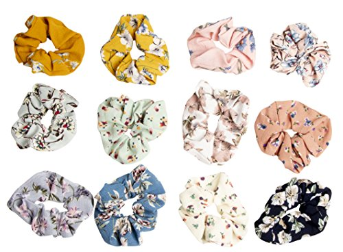 Hair Scrunchies - 12-Pack Chiffon Floral Elastic Hair Scrunchy, Hair Ties Hair Accessories for Girls, Women, Kids, 12 Assorted Colors