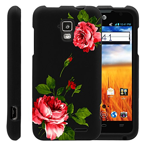 MINITURTLE, Slim Fit Graphic Design Image 2 Piece Snap On Protector Hard Phone Case Cover, Stylus Pen, and Clear Screen Protector Film for AT&T Prepaid GoPhone Android Smartphone ZTE Mustang Z998 (Affectionate Flowers)