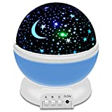 XUZOU Night Light LED Moon and Star Romantic Rotating Sky & Cosmos Cover Projector Night Lighting for Children Adults Bedroom, Mood/Decorative Light, Baby Nursery Light, Living Room Gift (Blue)