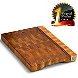 Wood cutting board - Wood Chopping block | Large cutting board 16x12 Kitchen butcher block Antibacterial Oak End grain cutting board - non slip cutting board with feet | Kitchen Wooden chopping board