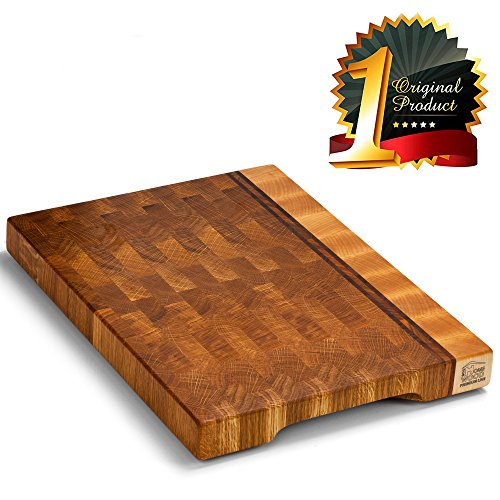 Wood cutting board - Wood Chopping block | Large cutting board 16x12 Kitchen butcher block Antibacterial Oak End grain cutting board - non slip cutting board with feet | Kitchen Wooden chopping board (Rectangle Maple Butcher Block Tabletop)