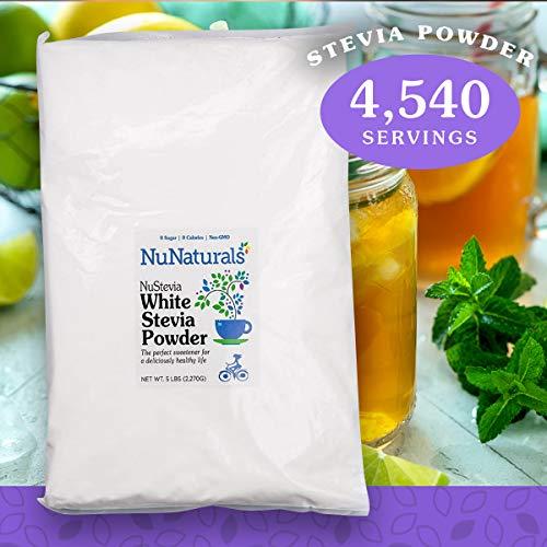NuNaturals White Stevia Powder, Natural Sweetener, Sugar Free 4,540 Servings 5 lbs