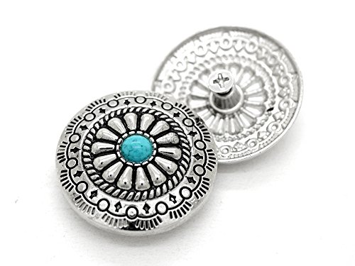 (CRAFTMEmore Decorative Concho Turquoise Flower Native American Navajo Wallet Cowboy Screw Buttons Leather Craft 1 1/8 Inch 2PCS CHS55 (Silver))