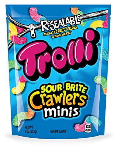 Mini Worms - Trolli Sour Brite Crawlers Minis Gummy Candy, 9 Ounce Bag, Pack of 6