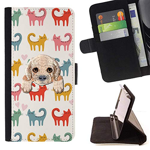 - [ Cocker Spaniel ] Embroidered Cute Dog Puppy Leather Wallet Case for LG V30 [ Curly Tail Cats Pattern ]