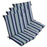 Comfort Classics Inc. Set of 4 Outdoor Dining Chair Cushions 20''x 44''x 3.5''T; H-24 in Polyester Fabric Sapphire Aurora Stripe by
