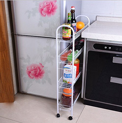 OKOKMALL US--Kitchen Storage Cart Slim Fridge Slide Tower Rack Shelf 4-Tiers With Wheels by OKOKMALL US