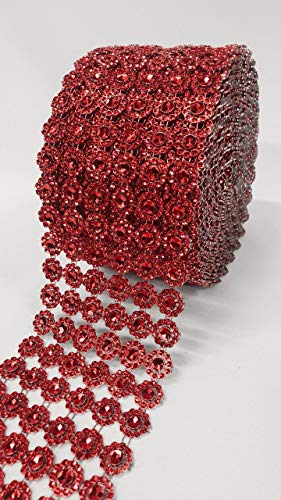 (10 Yards Flower Diamond Rhinestone Mesh Ribbon Wraps Bling for Wedding Centerpieces Decorations Crafts Cupcake Decor (Ruby Red))