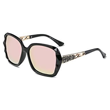 d12d7a2bd1 Amomoma Classic Women Polarized Sunglasses Oversized Mirrored UV400 Lens  AM2008 Black Mirrored Pink Lens