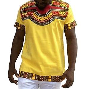 Gtealife Men's African Print Dashiki T-Shirt Tops Blouse