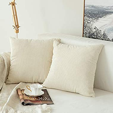 MIULEE Pack of 2, Corduroy Granules Soft Soild Decorative Square Throw Pillow Covers Set Cushion Case for Sofa Bedroom Car 18 x 18 Inch 45 x 45 cm