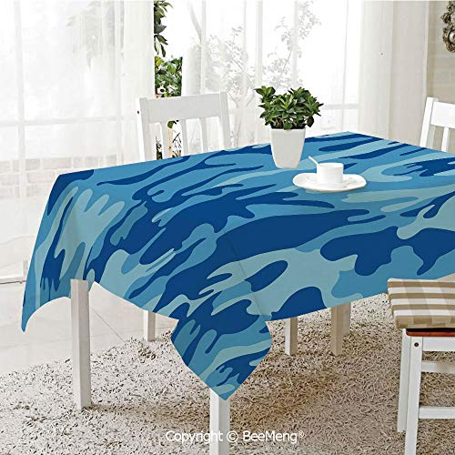 Dining Kitchen Polyester dust-Proof Table Cover,Camouflage,Abstract Camo Navy Military Costume Concealment from The Enemy Hiding,Pale Blue Navy Blue,Rectangular,59 x 59 inches -