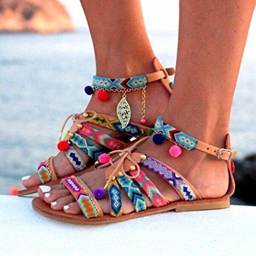 À Sexy Printemps Escarpin Sport Sandales Ballerine Femmes Gongzhumm En De Tongs Multicolore Plage Plate Chaussures Talon Bohême Été Cuir XqTqWw1EO