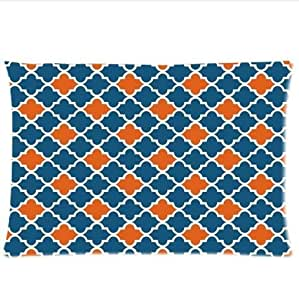 Best Seller Moroccan Orange And Navy Cornflower Blue Moroccan tile Quatrefoil Pillowcase,One Side Pillowcase Pillow Cover 20x30 inches by icecream design