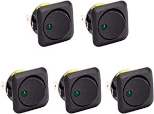 ESUPPORT 25mm Car Boat Round Dot Green LED Light Rocker Toggle Switch 12V 25A Dash Board ON Off Pack of 5
